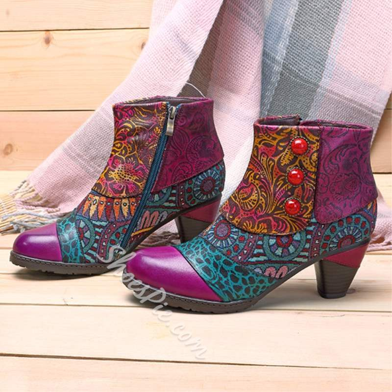 Shoespie Purple Thread Engraved Flower Ankle Boots