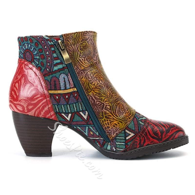 Shoespie Red Thread Engraved Flower Brush Off Ankle Boots