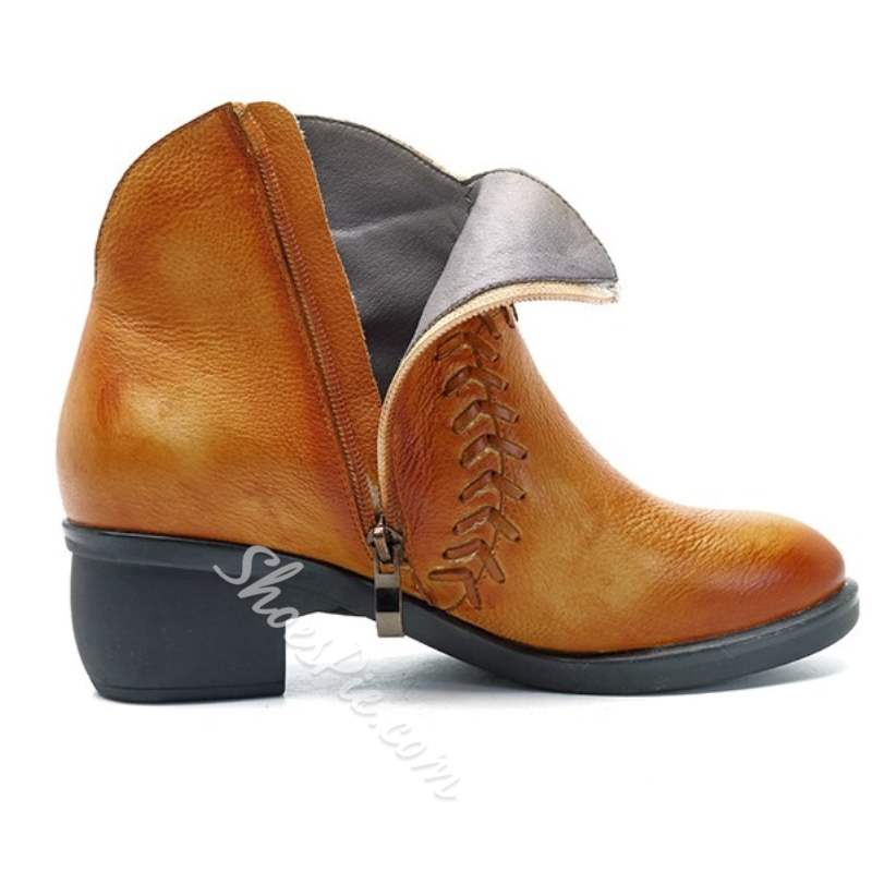 Shoespie Thread Brush Off Chunky Heel Ankle Boots