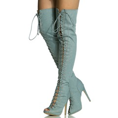 Light Blue Lace-Up Peep Toe Super Sexy Thigh High Boots