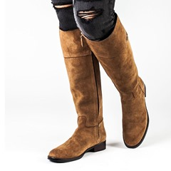 Shoespie Yellow Classic Plain Knee High Boots