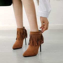 Shoespie Fringe Buckle Stiletto Ankle Boots