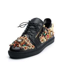 Shoespie Black Rhinestone Beads Lace-Up Men's Sneakers