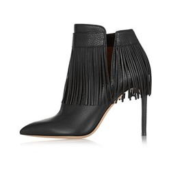 Shoespie Black Fringe Stiletto Heel Ankle Boots