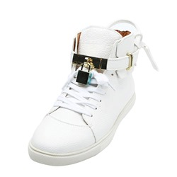 Shoespie White Lace-Up High Upper Men's Sneakers