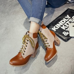 Shoespie Lace-Up Color Block High Heel Ankle Boots