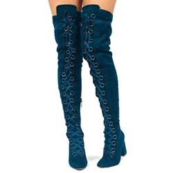 Blue Suede Cross Strap Sexy Thigh High Boots