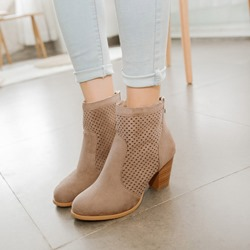 Shoespie Casual Back Zip Hollow Ankle Boots