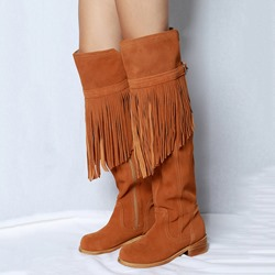 Shoespie Brown Fringe Buckle Knee High Boots