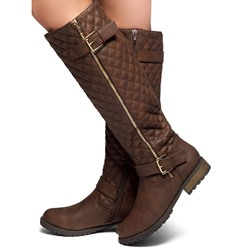 Shoespie Camel Buckle Knee High Boots