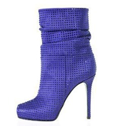 Shoespie Blue Rhinestone Stiletto Heel Ankle Boots