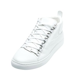 Shoespie White Lace-Up High Upper Classic Men's Sneakers