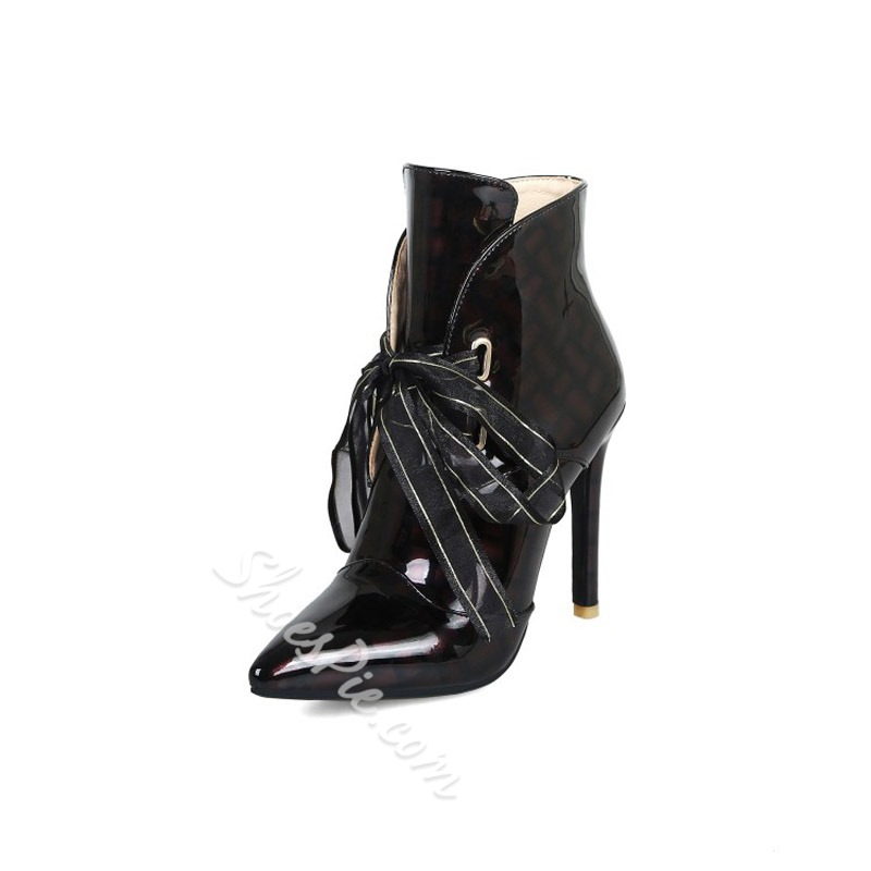 Shoespie Lace-Up Pointed Toe Microfiber Ankle Boots
