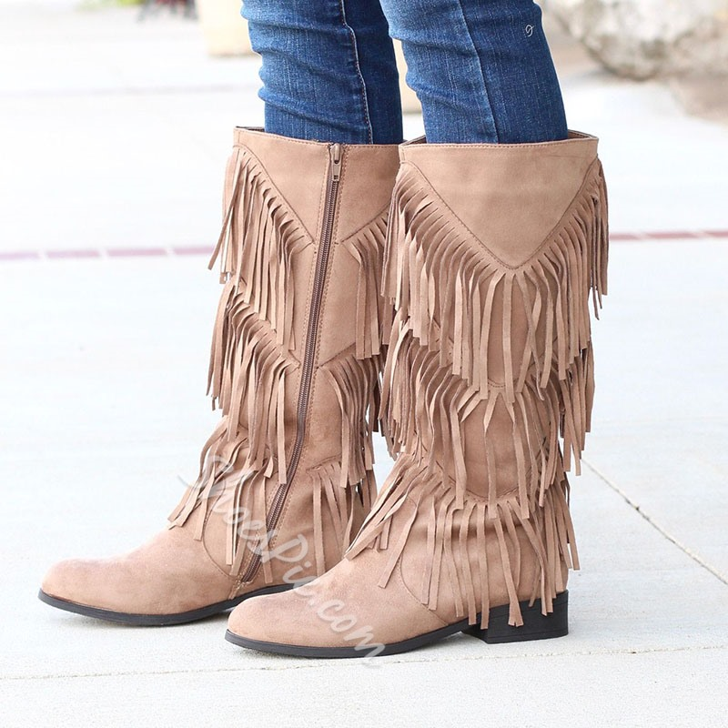 Shoespie Light Apricot Fringe Suede Knee High Boots