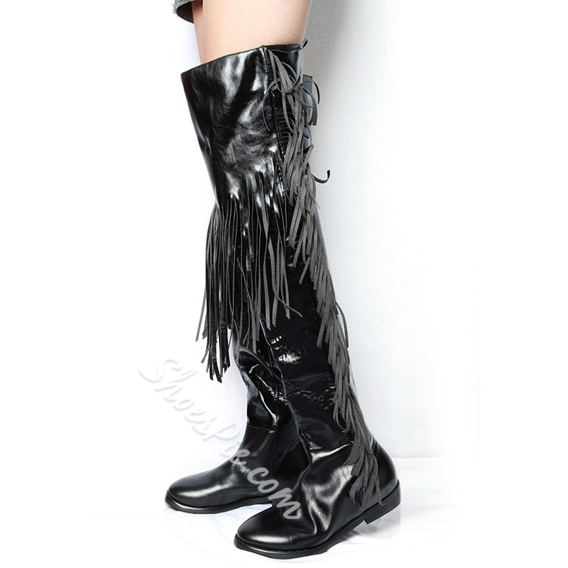 Shoespie Black Fringe Thigh High Boots