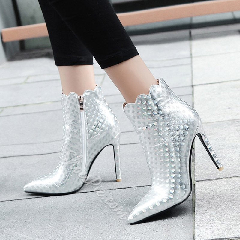 Shoespie Microfiber Lace-Up Ankle Boots
