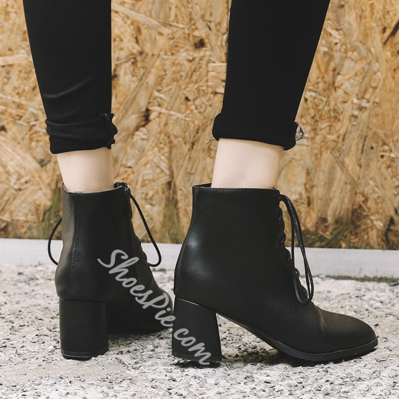 Shoespie Cross Strap Pointed Toe Plain Ankle Boots