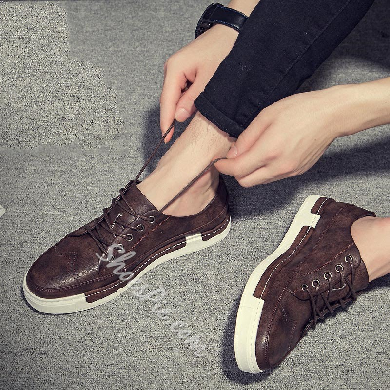 Shoespie Plain Thread Lace-Up Men's Sneakers
