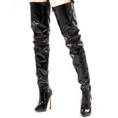 Shoespie Sexy Black Plain Stiletto Thigh High Boots