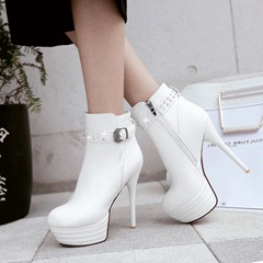 Shoespie Rhinestone Platform Buckle Fashion Ankle Boots