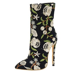 Shoespie Embroidery Side Zipper Stiletto Heel Ankel Boots