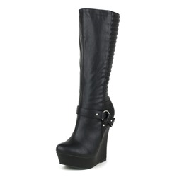 Shoespie Sexy Black Wedge Heel Knee High Boots