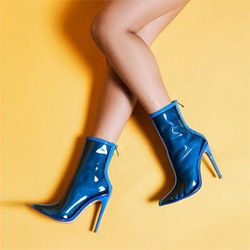 Shoespie Blue Jelly Back Zip Ankle Boots