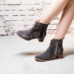 Shoespie Casual Tassel Chunky Heel Sewing Ankle Boots