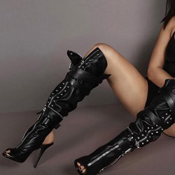 Shoespie Sexy Black Buckle Zipper Stiletto Knee High Boots