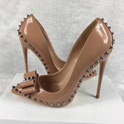 Shoespie Sexy Brown Bowknot Rivet Stiletto Heels