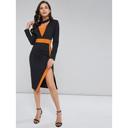 Color Block Western V Neck Women's Bodycon Dress