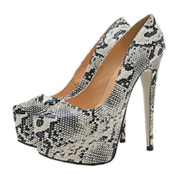 Shoespie White Serpentine Platform Stiletto Heels