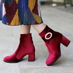 Shoespie Suede Beads Bowknot Chunky Heel Ankle Boots