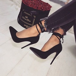 Shoespie Black Lace-Up Suede Stiletto Heels