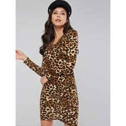 Asymmetric Western Leopard Women's Bodycon Dress
