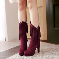 Shoespie Rivet Fringe Platform High Heel Knee High Boots