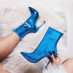 Shoespie Blue Jelly Back Zip High Heel Ankle Boots