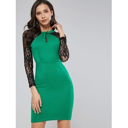 Patchwork Lace Western Women's Bodycon Dress
