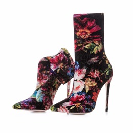 Shoespie Floral Black Suede Stiletto Ankle Boots