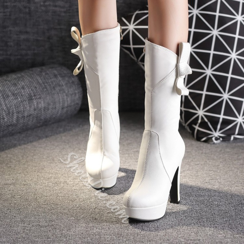 Shoespie Bowknot Casual Platform Knee High Boots