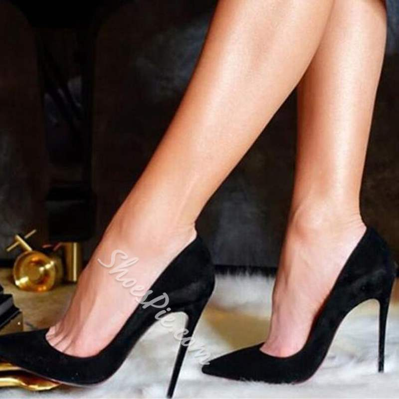Shoespie Black Classic Suede Sexy Stiletto Heels