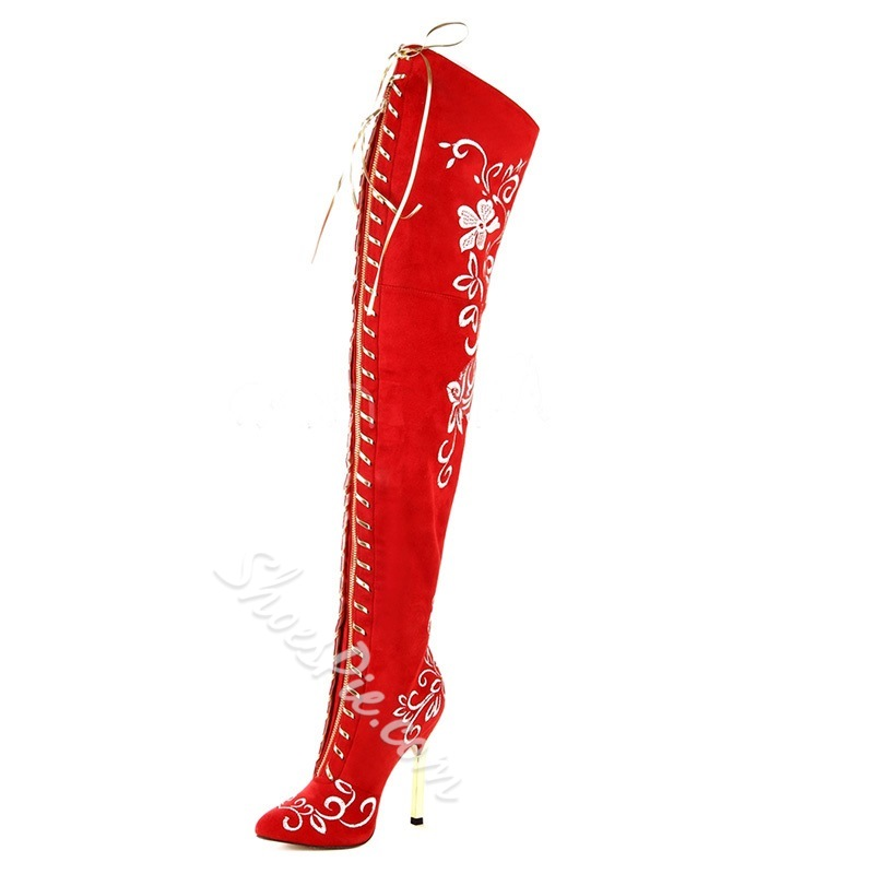 Shoespie Sexy Floral Lace-Up Suede Thigh High Boots