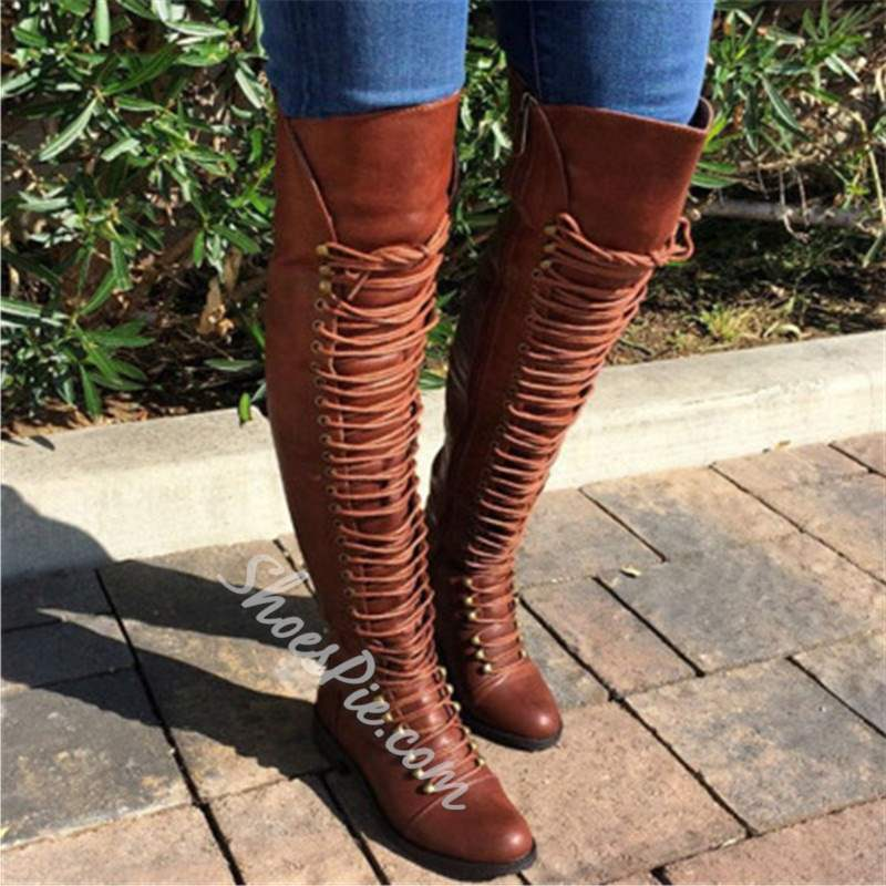 Shoespie Camel PU Cross Strap Block Heel Knee High Boots