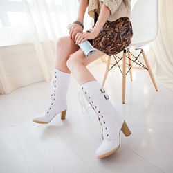 Shoespie PU Lace-Up Buckle Chunky Heel Knee High Boots