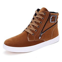 Shoespie Suede Flat High-Cut Upper Men's Sneakers