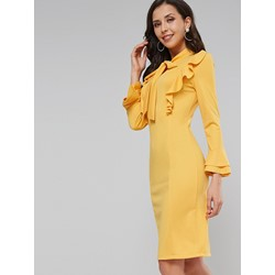 Long Sleeve Bowknot Bow Collar Pullover Women's Dress