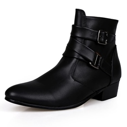 Shoespie Buckle PU Mid-Calf Casual Men's Boots