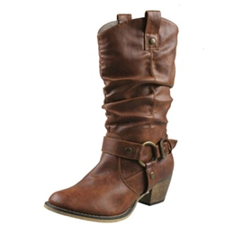 Shoespie Retro Buckle Chunky Heel Ankle Boots