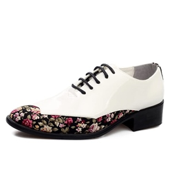 Shoespie Casual Floral PU Lace-Up Men's Oxfords