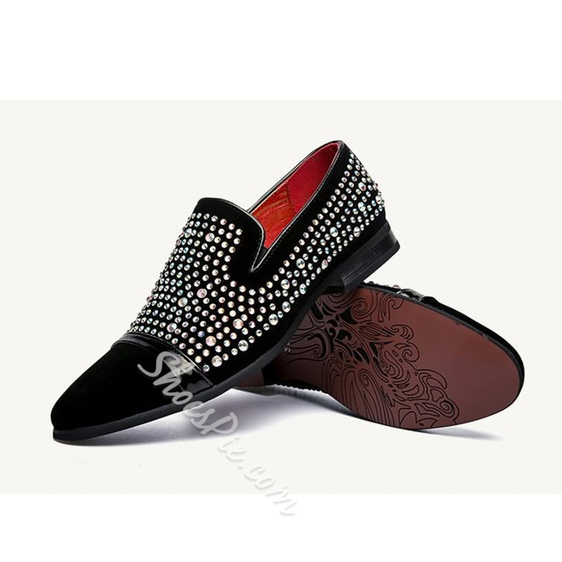 Shoespie Black Rhinestone Leather Men's Loafers